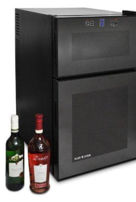Klarstein-Design-Weinkhlschrank-2-fach-Kombination-Getrnkekhlschrank-Khlschrank-fr-WeinflaschenGlas-Panoramatr-Touchpad-Steuerung-seperat-temperierbar-24-Flaschen-schwarz-0