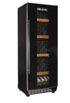 Klarstein-Design-Weinkhlschrank-Getrnkekhlschrank-Weinklimaschrank-mit-Glastr-fr-bis-zu-120-Flaschen-270-Liter-5-bis-22C-Aktivkohlefilter-schwarz-0