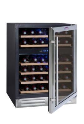 La-Sommelire-CVDE46-2-Weinkhlschrank-830-cm-Hhe-Multizonen-Einbauweinklimaschrank-mit-Kompressor-Digital-Anzeige-der-Temperatur-edelstahl-und-schwarz-0